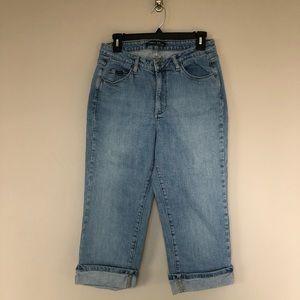 RIDERS Medium Wash Cuffed Cropped Jeans